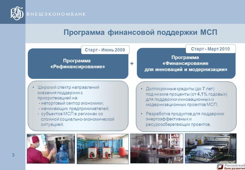 3 3 Программа финансовой поддержки МСП Программа «Рефинансирование» Программа «Финансирование для инноваций и модернизации» + Долгосрочные кредиты (до 7 лет) под низкие проценты (от 4,1% годовых) для поддержки инновационных и модернизационных проекто