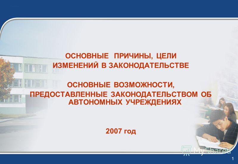 1 ОСНОВНЫЕ ПРИЧИНЫ, ЦЕЛИ ИЗМЕНЕНИЙ В ЗАКОНОДАТЕЛЬСТВЕ ОСНОВНЫЕ ВОЗМОЖНОСТИ, ПРЕДОСТАВЛЕННЫЕ ЗАКОНОДАТЕЛЬСТВОМ ОБ АВТОНОМНЫХ УЧРЕЖДЕНИЯХ 2007 год