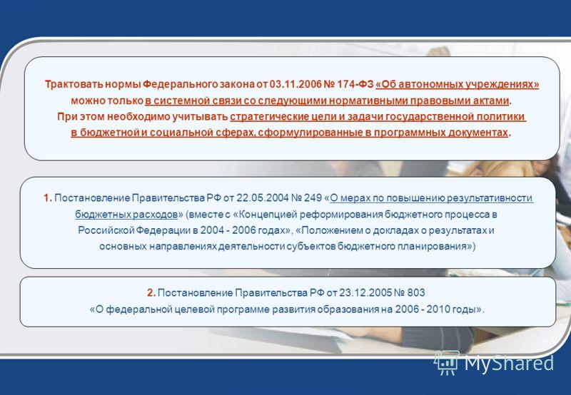 1. Постановление Правительства РФ от 22.05.2004 249 «О мерах по повышению результативности бюджетных расходов» (вместе с «Концепцией реформирования бюджетного процесса в Российской Федерации в 2004 - 2006 годах», «Положением о докладах о результатах