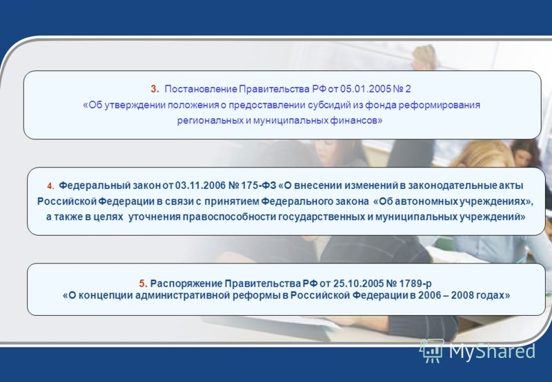 4. Федеральный закон от 03.11.2006 175-ФЗ «О внесении изменений в законодательные акты Российской Федерации в связи с принятием Федерального закона «Об автономных учреждениях», а также в целях уточнения правоспособности государственных и муниципальны