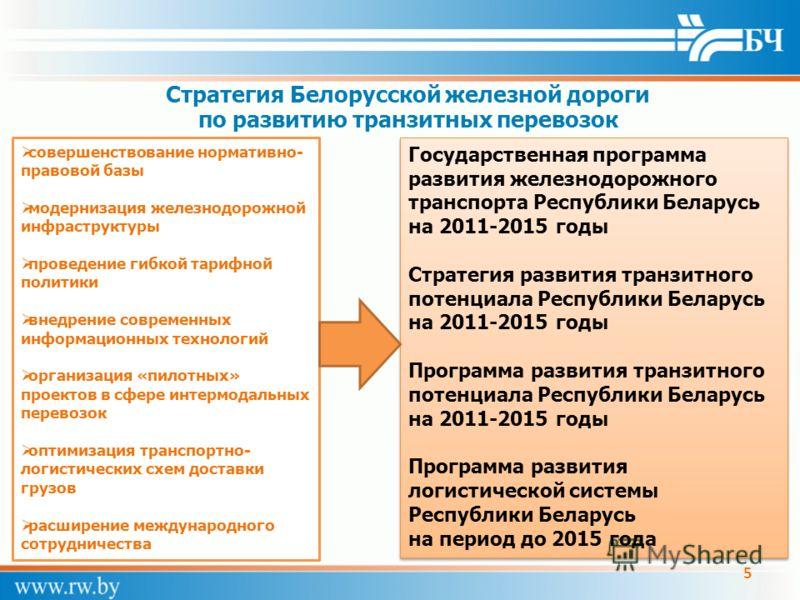 Стратегия Белорусской железной дороги по развитию транзитных перевозок совершенствование нормативно- правовой базы модернизация железнодорожной инфраструктуры проведение гибкой тарифной политики внедрение современных информационных технологий организ