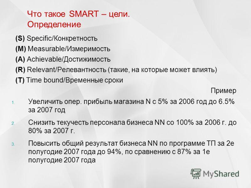 (S) Specific/Конкретность (М) Measurable/Измеримость (А) Achievable/Достижимость (R) Relevant/Релевантность (такие, на которые может влиять) (Т) Time bound/Временные сроки Пример Что такое SMART – цели. Определение 1. Увеличить опер. прибыль магазина