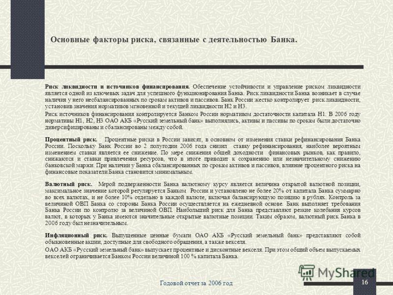 Годовой отчет за 2006 год 15 Основные факторы риска, связанные с деятельностью Банка. Отчет о выплате (объявленных) начисленных дивидендов В соответствии с Решениями Общего собрания акционеров дивиденды по акциям ОАО АКБ «Русский земельный банк» не в