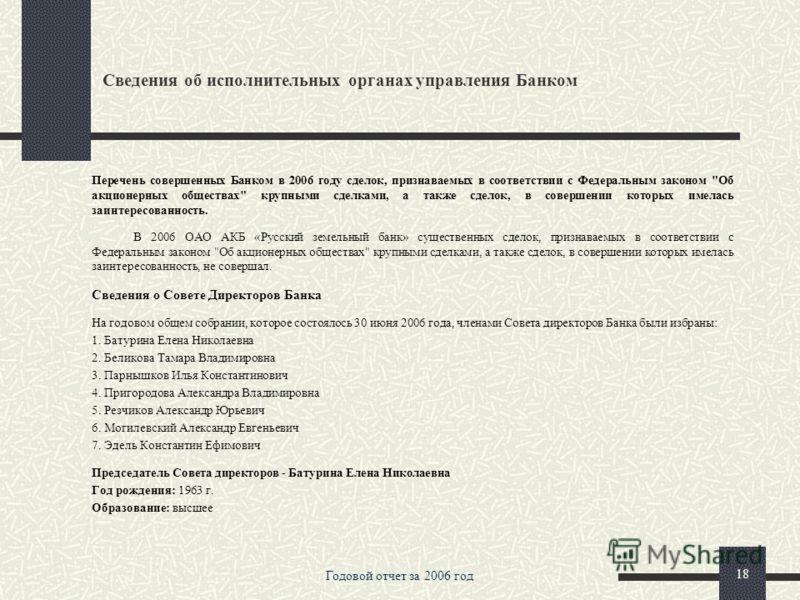 Годовой отчет за 2006 год 17 Основные факторы риска, связанные с деятельностью Банка. Максимальный объем выпущенных векселей в 2006 году не превышал 50 % от капитала Банка. Векселя Банка выпускаются, как правило, либо с дисконтом, соответствующим тек