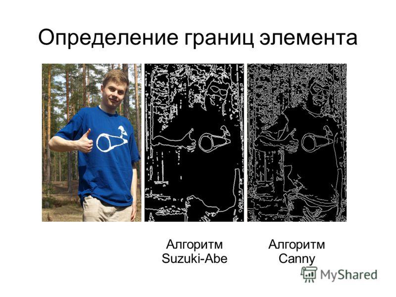 Определение границ элемента Алгоритм Suzuki-Abe Алгоритм Canny