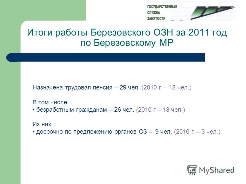 Итоги работы Березовского ОЗН за 2011 год по Березовскому МР Назначена трудовая пенсия – 29 чел. (2010 г. – 18 чел.) В том числе: безработным гражданам – 26 чел. (2010 г – 18 чел.) Из них: досрочно по предложению органов СЗ – 9 чел. (2010 г. – 3 чел.