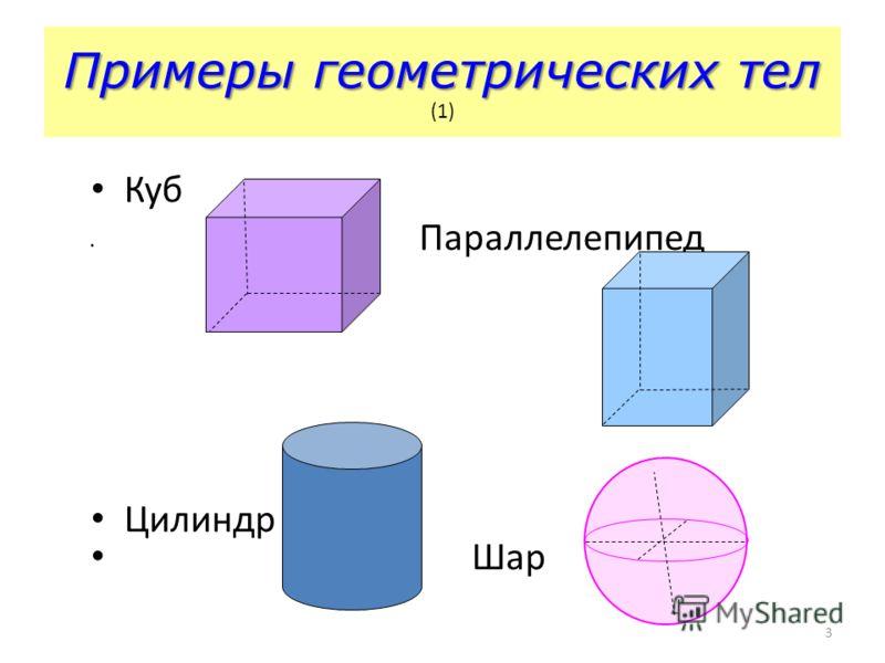 3 Куб Параллелепипед Цилиндр Шар Примеры геометрических тел Примеры геометрических тел (1)
