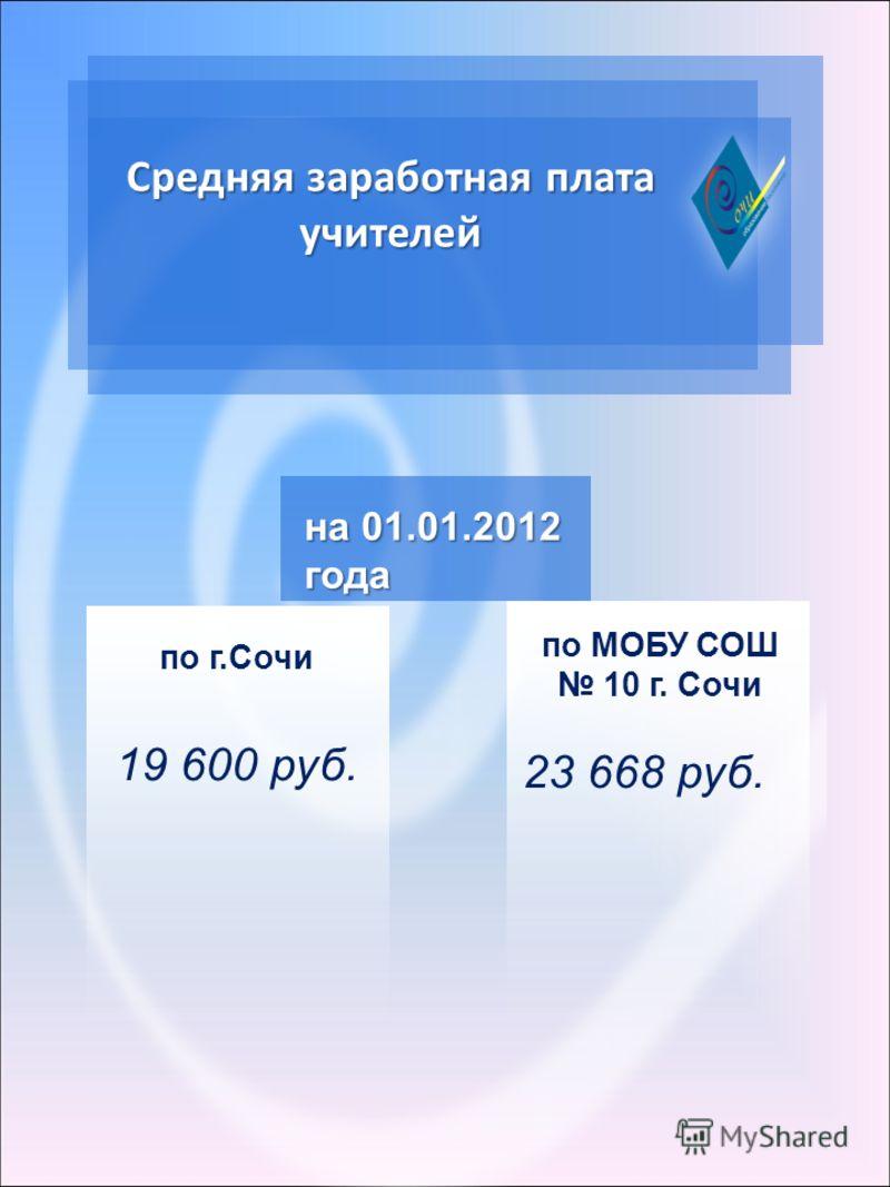 Средняя заработная плата учителей по г.Сочи 19 600 руб. на 01.01.2012 года по МОБУ СОШ 10 г. Сочи 23 668 руб.