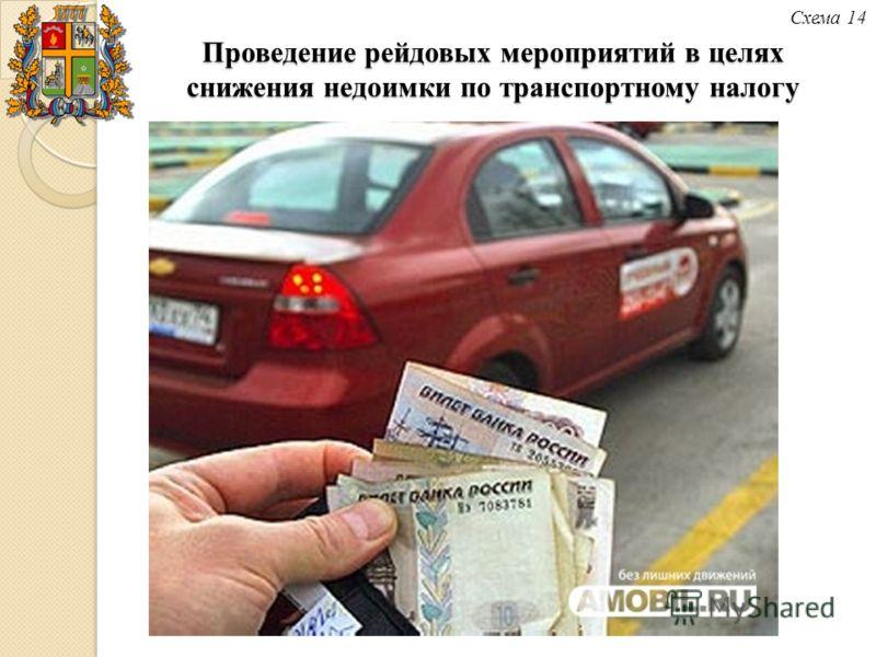 Схема 14 Проведение рейдовых мероприятий в целях снижения недоимки по транспортному налогу
