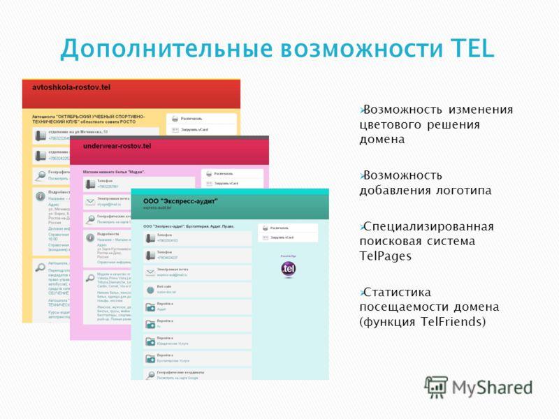 Возможность изменения цветового решения домена Возможность добавления логотипа Специализированная поисковая система TelPages Статистика посещаемости домена (функция TelFriends)