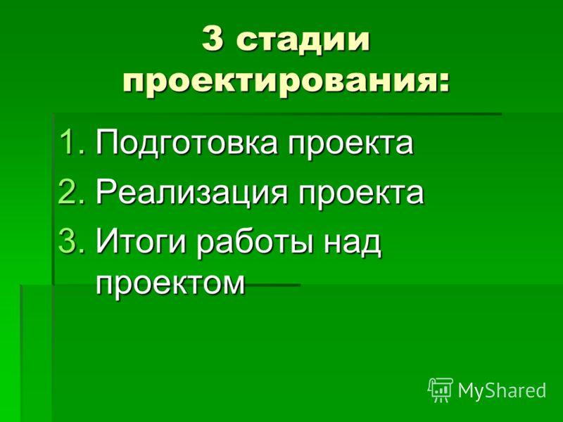3 стадии проектирования: 1.Подготовка проекта 2.Реализация проекта 3.Итоги работы над проектом