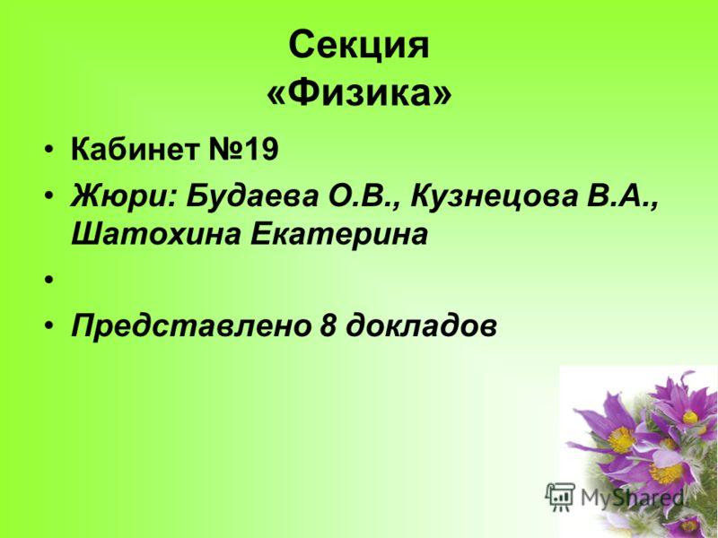 Секция «Физика» Кабинет 19 Жюри: Будаева О.В., Кузнецова В.А., Шатохина Екатерина Представлено 8 докладов