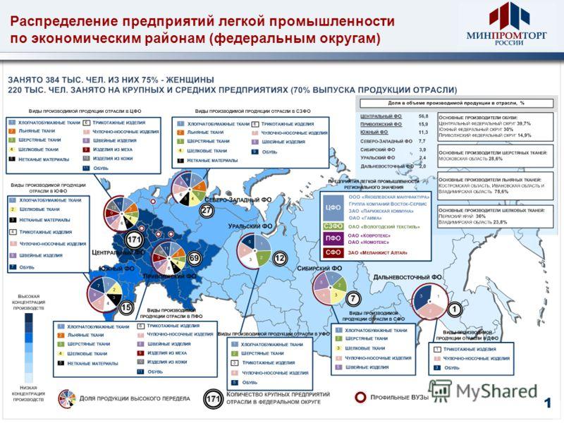 Распределение предприятий легкой промышленности по экономическим районам (федеральным округам) 1