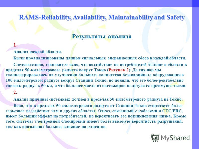 RAMS-Reliability, Availability, Maintainability and Safety Результаты анализа 1. Анализ каждой области. Были проанализированы данные сигнальных операционных сбоев в каждой области. Следовательно, становится ясно, что воздействие на потребителей больш
