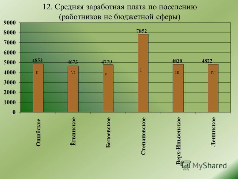 12. Средняя заработная плата по поселению (работников не бюджетной сферы)