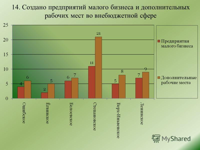 14. Создано предприятий малого бизнеса и дополнительных рабочих мест во внебюджетной сфере