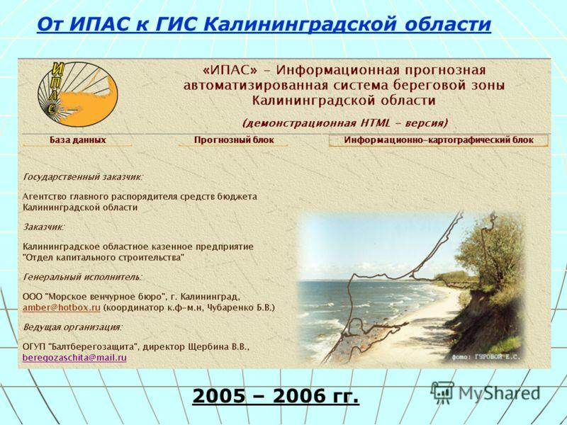 От ИПАС к ГИС Калининградской области 2005 – 2006 гг.