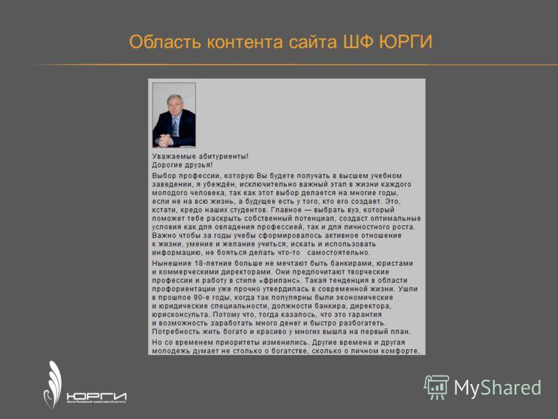 Область контента сайта ШФ ЮРГИ