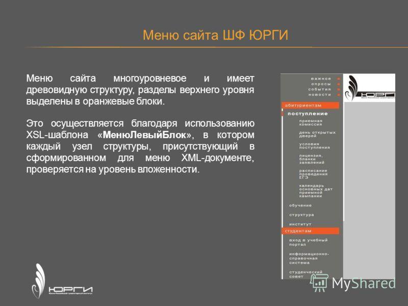 Меню сайта ШФ ЮРГИ Меню сайта многоуровневое и имеет древовидную структуру, разделы верхнего уровня выделены в оранжевые блоки. Это осуществляется благодаря использованию XSL-шаблона «МенюЛевыйБлок», в котором каждый узел структуры, присутствующий в