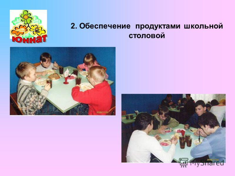2. Обеспечение продуктами школьной столовой