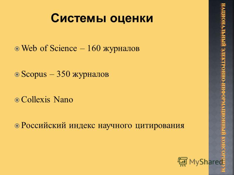 Web of Science – 160 журналов Scopus – 350 журналов Collexis Nano Российский индекс научного цитирования