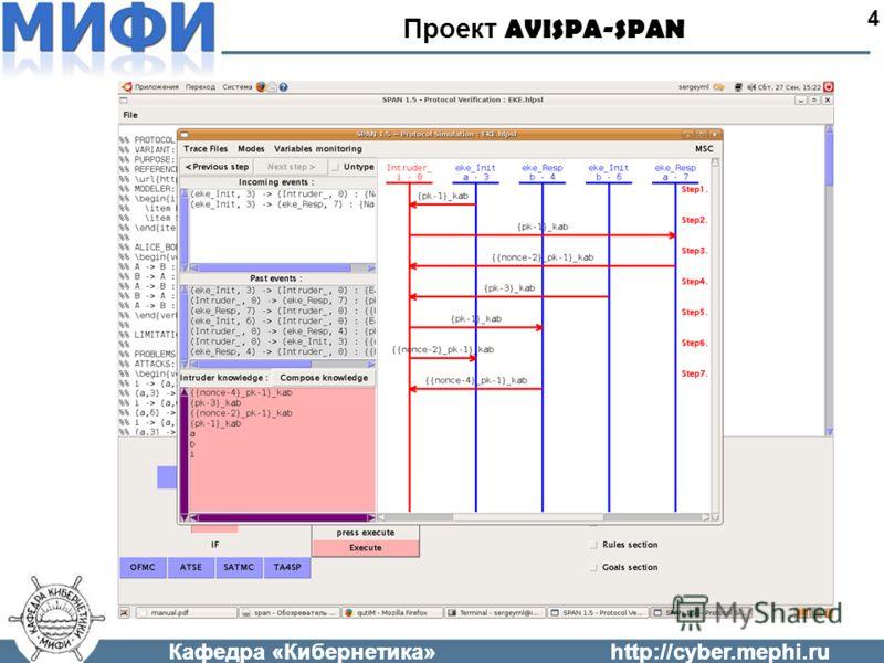 Кафедра «Кибернетика»http://cyber.mephi.ru Проект AVISPA-SPAN 4