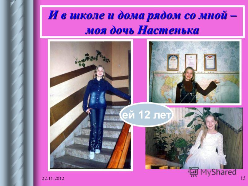22.11.2012 13 И в школе и дома рядом со мной – моя дочь Настенька ей 12 лет