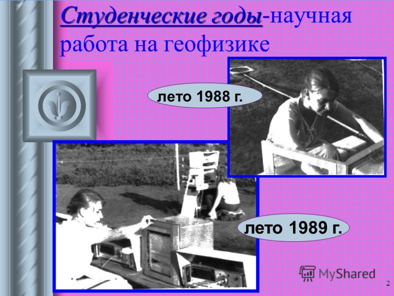 22.11.2012 2 Студенческие годы Студенческие годы-научная работа на геофизике лето 1988 г. лето 1989 г.