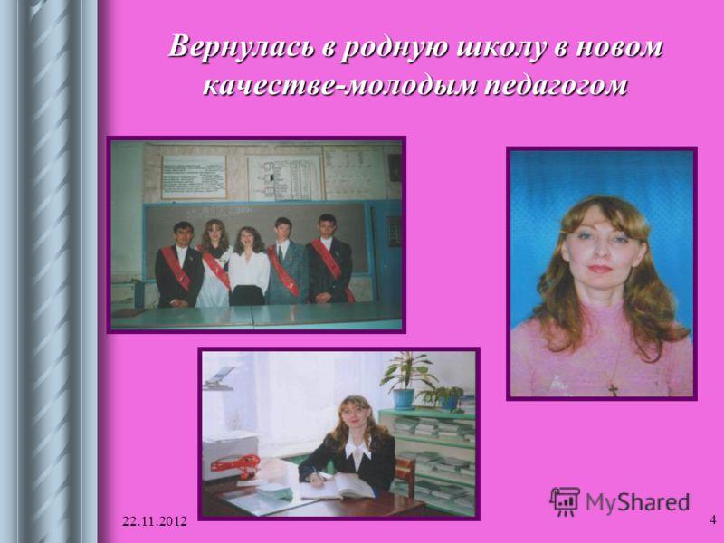 22.11.2012 4 Вернулась в родную школу в новом качестве-молодым педагогом