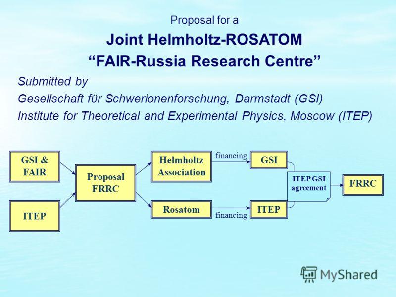 GSI & FAIR ITEP Proposal FRRC Helmholtz Association Rosatom GSI ITEP FRRC financing ITEP GSI agreement Proposal for a Joint Helmholtz-ROSATOM FAIR-Russia Research Centre Submitted by Gesellschaft fϋr Schwerionenforschung, Darmstadt (GSI) Institute fo