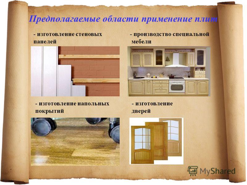 Предполагаемые области применение плит - изготовление стеновых панелей - производство специальной мебели - изготовление напольных покрытий - изготовление дверей
