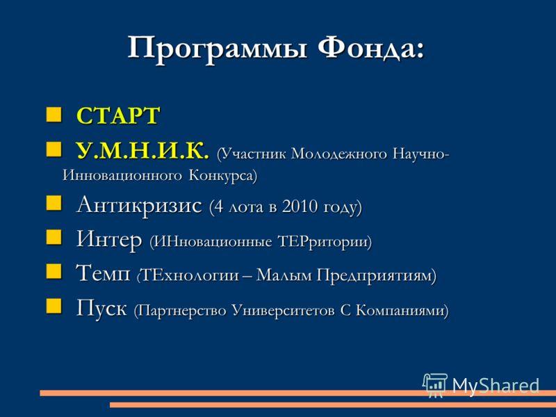 Программы Фонда: СТАРТ СТАРТ У.М.Н.И.К. (Участник Молодежного Научно- Инновационного Конкурса) У.М.Н.И.К. (Участник Молодежного Научно- Инновационного Конкурса) Антикризис (4 лота в 2010 году) Антикризис (4 лота в 2010 году) Интер (ИНновационные ТЕРр