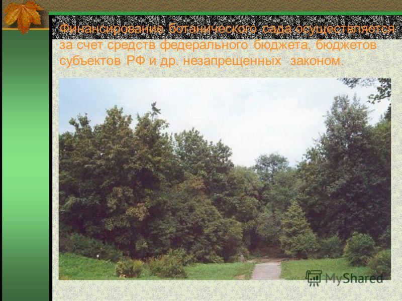 Финансирование ботанического сада осуществляется за счет средств федерального бюджета, бюджетов субъектов РФ и др. незапрещенных законом.