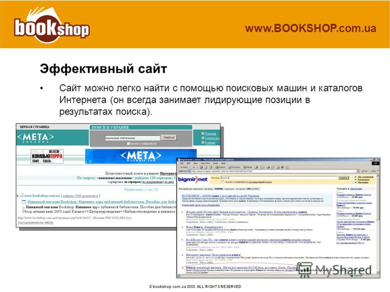 www.BOOKSHOP.com.ua © bookshop.com.ua 2005. ALL RIGHTS RESERVED Эффективный сайт Сайт можно легко найти с помощью поисковых машин и каталогов Интернета (он всегда занимает лидирующие позиции в результатах поиска).