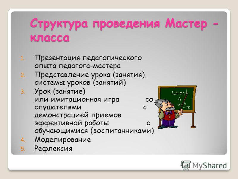 Структура проведения Мастер - класса 1. Презентация педагогического опыта педагога-мастера 2. Представление урока (занятия), системы уроков (занятий) 3. Урок (занятие) или имитационная игра со слушателями с демонстрацией приемов эффективной работы с