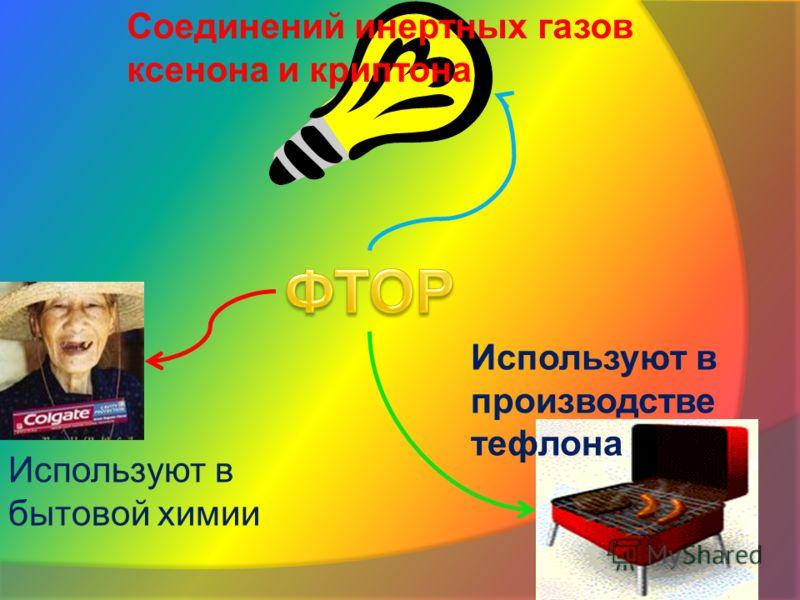 Соединений инертных газов ксенона и криптона Используют в производстве тефлона Используют в бытовой химии