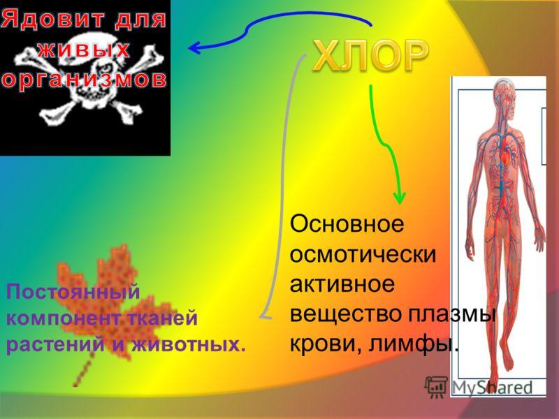 Основное осмотически активное вещество плазмы крови, лимфы. Постоянный компонент тканей растений и животных.