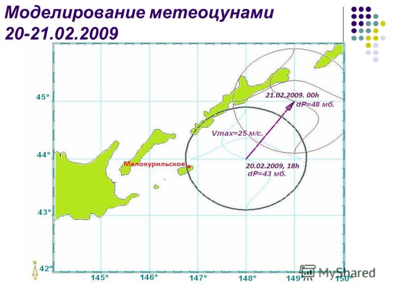 Моделирование метеоцунами 20-21.02.2009