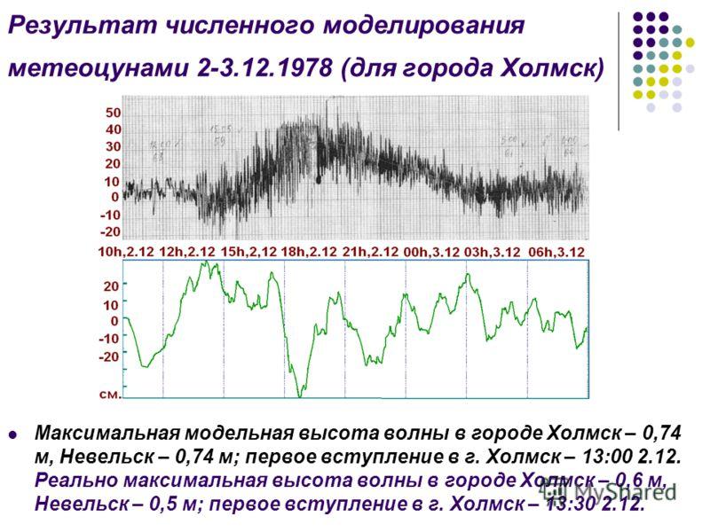 Результат численного моделирования метеоцунами 2-3.12.1978 (для города Холмск) Максимальная модельная высота волны в городе Холмск – 0,74 м, Невельск – 0,74 м; первое вступление в г. Холмск – 13:00 2.12. Реально максимальная высота волны в городе Хол