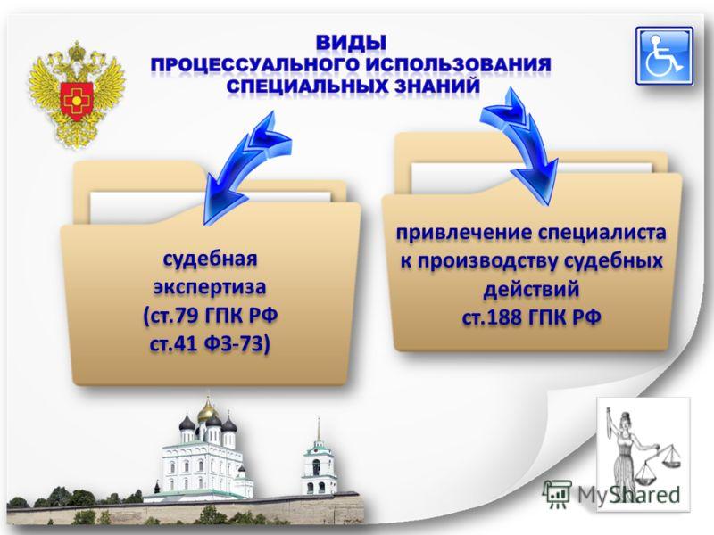 судебная экспертиза (ст.79 ГПК РФ ст.41 ФЗ-73) судебная экспертиза (ст.79 ГПК РФ ст.41 ФЗ-73) привлечение специалиста к производству судебных действий ст.188 ГПК РФ привлечение специалиста к производству судебных действий ст.188 ГПК РФ