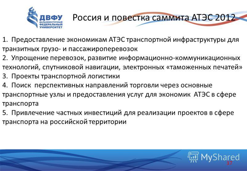 Россия и повестка саммита АТЭС 2012 1.Предоставление экономикам АТЭС транспортной инфраструктуры для транзитных грузо- и пассажироперевозок 2.Упрощение перевозок, развитие информационно-коммуникационных технологий, спутниковой навигации, электронных