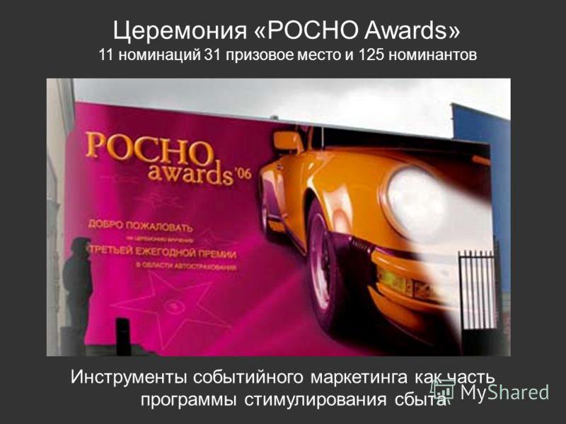 Инструменты событийного маркетинга как часть программы стимулирования сбыта Церемония «РОСНО Awards» 11 номинаций 31 призовое место и 125 номинантов