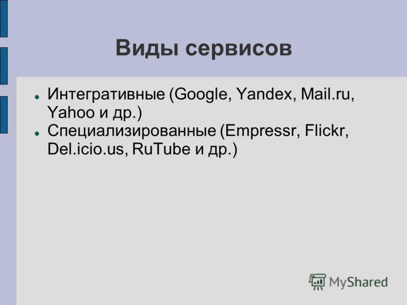 Виды сервисов Интегративные (Google, Yandex, Mail.ru, Yahoo и др.) Специализированные (Empressr, Flickr, Del.icio.us, RuTube и др.)
