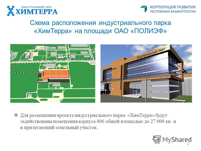 Схема расположения индустриального парка «ХимТерра» на площади ОАО «ПОЛИЭФ» Для размещения проекта индустриального парка «ХимТерра» будут задействованы помещения корпуса 806 общей площадью до 27 000 кв. м и прилегающий земельный участок. 8