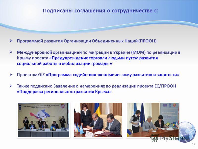 Подписаны соглашения о сотрудничестве с: Программой развития Организации Объединенных Наций (ПРООН) Международной организацией по миграции в Украине (МОМ) по реализации в Крыму проекта «Предупреждение торговли людьми путем развития социальной работы