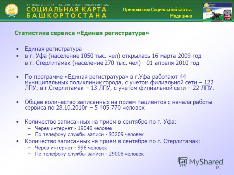 16 Единая регистратура в г. Уфа (население 1050 тыс. чел) открылась 16 марта 2009 год в г. Стерлитамак (население 270 тыс. чел) - 01 апреля 2010 год По программе «Единая регистратура» в г.Уфа работают 44 муниципальных поликлиник города, с учетом фили