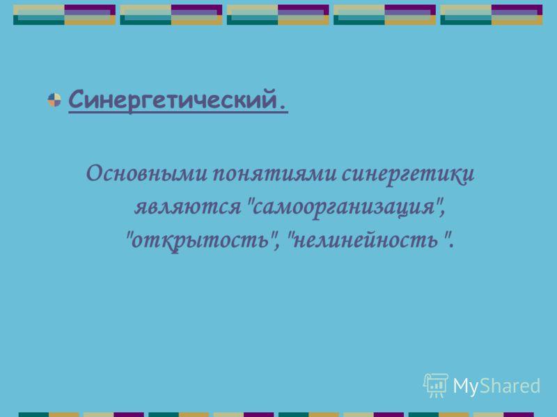 Синергетический. Основными понятиями синергетики являются самоорганизация, открытость, нелинейность .