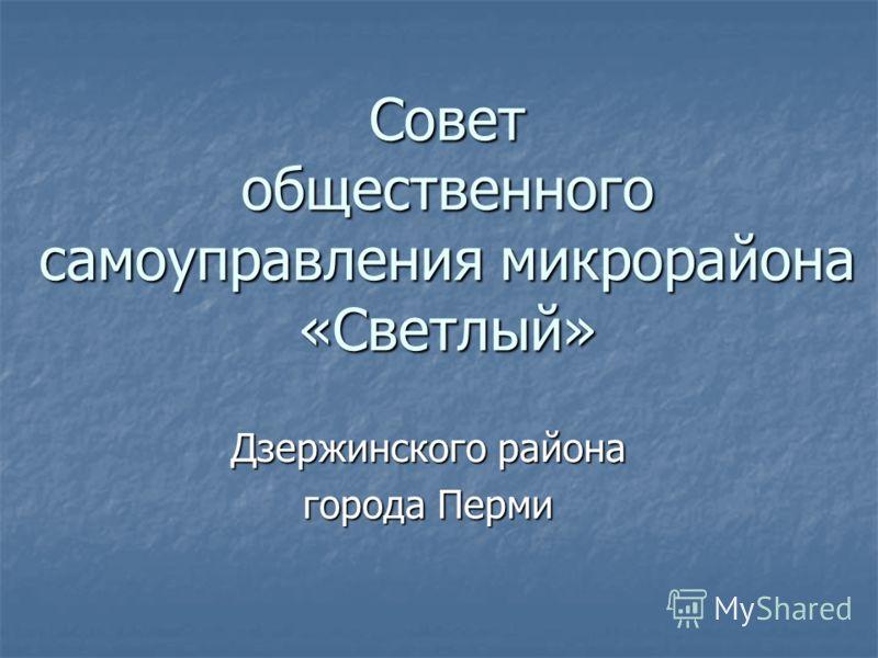 Совет общественного самоуправления микрорайона «Светлый» Дзержинского района города Перми