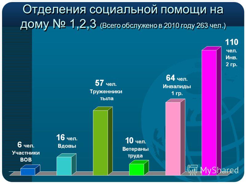 Отделения социальной помощи на дому 1,2,3 (Всего обслужено в 2010 году 263 чел.)