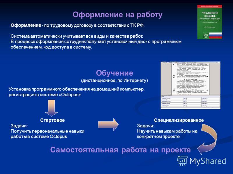 5 Оформление на работу Оформление - по трудовому договору в соответствии с ТК РФ. Система автоматически учитывает все виды и качества работ. В процессе оформления сотрудник получает установочный диск с программным обеспечением, код доступа в систему.